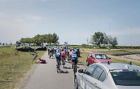 Maximilian Schachmann (DEU/Quick-Step Floors) &amp; Marco Mathis (DEU/Katusha-Alpecin) crashing<br /> <br /> Ster ZLM Tour (2.1)<br /> Stage 2: Tholen &gt; Hoogerheide (186.8km)