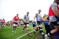 Bath Rugby players leave the field after the pre-match warm-up. Aviva Premiership match, between Bath Rugby and Newcastle Falcons on September 10, 2016 at the Recreation Ground in Bath, England. Photo by: Patrick Khachfe / Onside Images