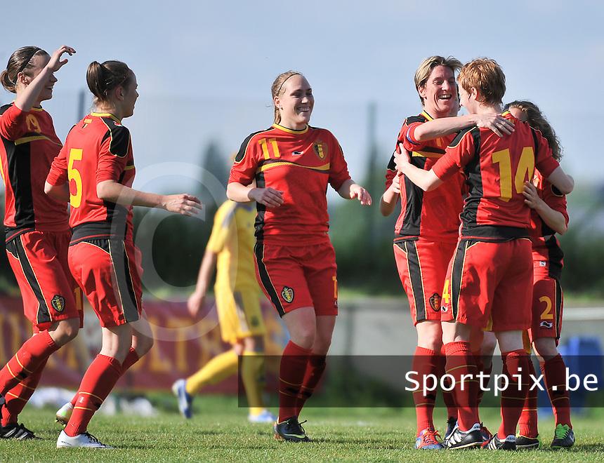Belgium - Ukraine : vreugde bij Belgie na een 2de doelpunt van Lien Mermans (14). Met Janice Cayman (11)<br /> foto DAVID CATRY / Nikonpro.be