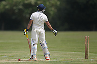 Jas Hothi of Rainahm during is out Bentley CC (Bowling) vs Rainham CC, T Rippon Mid Essex Cricket League Cricket at Coxtie Green Road on 9th June 2018