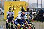 Ton Devriendt (BEL) and Wanty-Gobert Cycling Team mates head to the team presentation in Antwerp before the start of the 2019 Ronde Van Vlaanderen 270km from Antwerp to Oudenaarde, Belgium. 7th April 2019.<br /> Picture: Eoin Clarke | Cyclefile<br /> <br /> All photos usage must carry mandatory copyright credit (&copy; Cyclefile | Eoin Clarke)