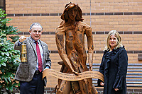 "Pictured: Monday 05 February 2018<br /> Re: A sculpture has been unveiled at Welsh Centre for Burns and Plastic Surgery in Morriston Hospital to commemorate its links with Port Talbot steelworks in Wales, UK.<br /> It was inspired by Welsh mythology and created from Tata steel by artist Sarah Tombs.<br /> The sculpture is of the legendary Lady of Llyn y Fan Fach and was unveiled by Abertawe Bro Morgannwg health board to mark the 70th birthday of the NHS.<br /> According to the Mabinogion and The Red Book of Hergest, she was mother of the Physicians of Myddfai, who used magical powers to heal the sick and symbolises ""regeneration and healing""."