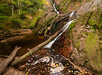 Morgan Falls on Morgan Creek in Ashland County, Wisconsin takes a zig zag down it's path in Autumn