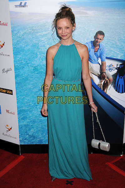 CALISTA FLOCKHART.G'Day USA: Australia.com 2008 Black Tie Gala at the Hollywood & Highland Ballroom, CaliforniaUSA,.19 January 2008..full length green turquoise dress silver bag.CAP/ADM/BP.©Byron Purvis/AdMedia/Capital Pictures.