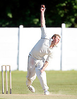 Brad Sculley bowls for North Middx during the Middlesex County Cricket League Division Two game between North Middlesex and Enfield at Park Road, Crouch End, London on Sat May 22, 2010
