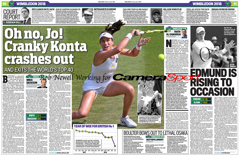 Daily Mail - 06-Jul-2018 - 'Oh no, Jo! Cranky Konta crashes out' - Photo by Rob Newell (Camerasport via Getty Images)