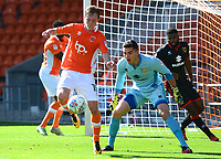Blackpool's Sean Longstaff controls the ball under pressure from Milton Keynes Dons' Lee Nicholls<br /> <br /> Photographer Richard Martin-Roberts/CameraSport<br /> <br /> The EFL Sky Bet League One - Blackpool v Milton Keynes Dons - Saturday August 12th 2017 - Bloomfield Road - Blackpool<br /> <br /> World Copyright &copy; 2017 CameraSport. All rights reserved. 43 Linden Ave. Countesthorpe. Leicester. England. LE8 5PG - Tel: +44 (0) 116 277 4147 - admin@camerasport.com - www.camerasport.com