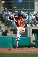 Alex Steinbach (34) of the Illinois Fighting Illini at bat against the West Virginia Mountaineers at TicketReturn.com Field at Pelicans Ballpark on February 23, 2020 in Myrtle Beach, South Carolina. The Fighting Illini defeated the Mountaineers 2-1.  (Brian Westerholt/Four Seam Images)