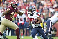 Landover, MD - November 18, 2018: Houston Texans wide receiver Keke Coutee (16) gets the ball during the  game between Houston Texans and Washington Redskins at FedEx Field in Landover, MD.   (Photo by Elliott Brown/Media Images International)