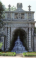 Tivoli: Villa D'Este--Fontana Della Civita (much restored). Designed by Giovanni Del Luca, 16th century. Pnoto '83.