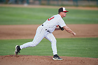 Great Falls Voyagers starting pitcher Kaleb Roper (43) during a Pioneer League game against the Missoula Osprey at Centene Stadium at Legion Park on August 19, 2019 in Great Falls, Montana. Missoula defeated Great Falls 1-0 in the second game of a doubleheader. (Zachary Lucy/Four Seam Images)