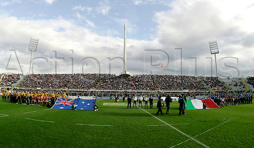 20.11.2010 Florence, International Rugby Union. Italy v Australia,14-32. Picture show teams during the hymns.