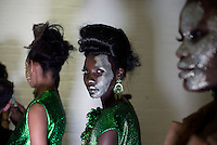 CAPE TOWN, SOUTH AFRICA AUGUST 1: Patricia Akello,  model walking for the designer David Tlale waits backstage before a show on August 1 2015 at Gallery MOMO in Cape Town, South Africa. David Tlale is one of South Africa's most established designers and he showed a wedding collection at the yearly Mercedes Benz Cape Town Fashion Week, where some of South Africa's finest designers showed their Spring/Summer 2016 collections during the 3-day event. (Photo by Per-Anders Pettersson)