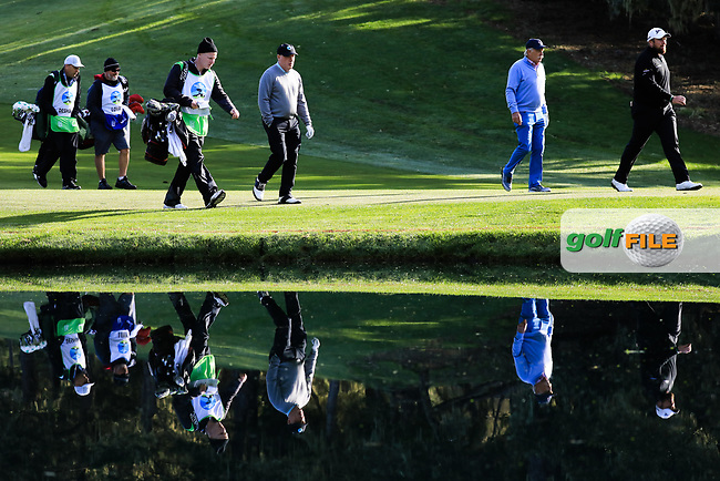 Dermot Desmond (A) and Shane Lowry (IRL) during the first round of the AT&T Pro-Am, Pebble Beach Golf Links, Monterey, California, USA. 07/02/2019<br /> Picture: Golffile | Phil Inglis<br /> <br /> <br /> All photo usage must carry mandatory copyright credit (© Golffile | Phil Inglis)
