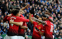 Manchester United's Marcus Rashford celebrates scoring his side's first goal with team mates<br /> <br /> Photographer Hannah Fountain/CameraSport<br /> <br /> The Premier League - Leicester City v Manchester United - Sunday 3rd February 2019 - King Power Stadium - Leicester<br /> <br /> World Copyright © 2019 CameraSport. All rights reserved. 43 Linden Ave. Countesthorpe. Leicester. England. LE8 5PG - Tel: +44 (0) 116 277 4147 - admin@camerasport.com - www.camerasport.com