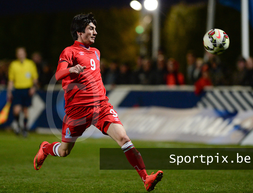 20150326 - SAINT-LO , FRANCE  : Azerbaijan Fahmin Muradbayli  pictured during the soccer match between Under 19 teams of France and Azerbaijan , on the first matchday in group 7 of the UEFA Elite Round Under 19 at stade Louis Villemer , Saint-Lo France . Thursday 26 rd  March 2015 . PHOTO DAVID CATRY