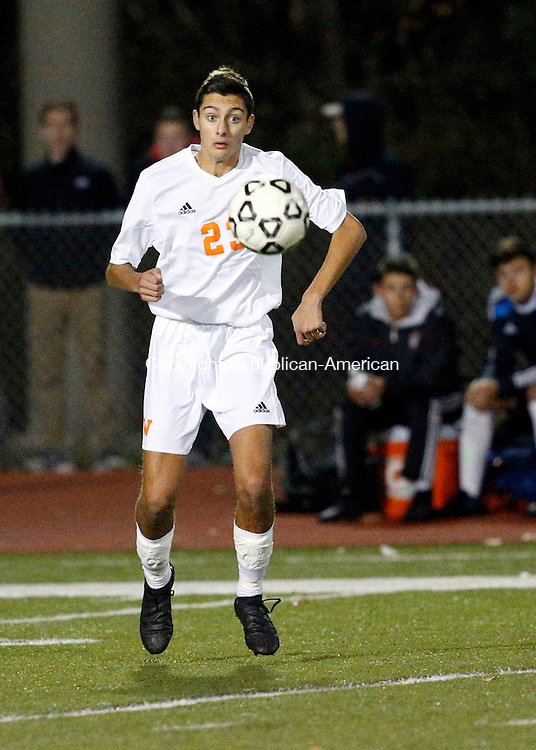 Watertown, CT- 10 November 2016-111016CM10-  Watertown's Anthony Longo controls the ball against RHAM during their state tournament matchup on Thursday.     Christopher Massa Republican-American
