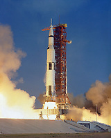 Kennedy Space Center (FLA) USA - July 16, 1969 - File Photo- The Apollo 11 Saturn V space vehicle lifts off with astronauts Neil A. Armstrong, Michael Collins and Edwin E. Aldrin, Jr., at 9:32 a.m. EDT July 16, 1969, from Kennedy Space Center's Launch Complex 39A.