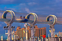 "AquaDuck water slide, aboard the cruise ship ""Disney Dream"", Disney Cruise Line, docked at Nassau (the Atlantis Paradise Resort in background), The Bahamas"
