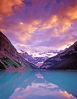 Lake Louise at sunset. Banff National Park, Canada.