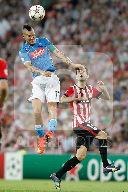 Athletic de Bilbao's Markel Susaeta (r) and SSC Napoli's Marek Hamsik during Champions League 2014/2015 Play-off 2nd leg match.August 27,2014. (ALTERPHOTOS/Acero)