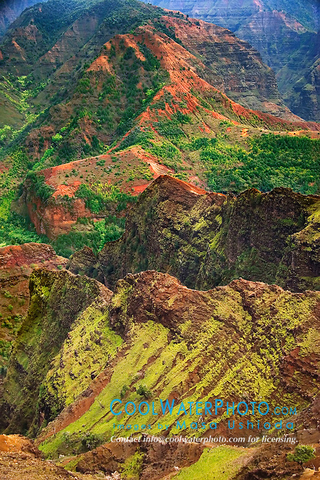 "Waimea Canyon, the ""Grand Canyon of the Pacific"", approximately one mile wide and ten miles long, more than 3,500 feet deep, State Park, Kauai, Hawaii"