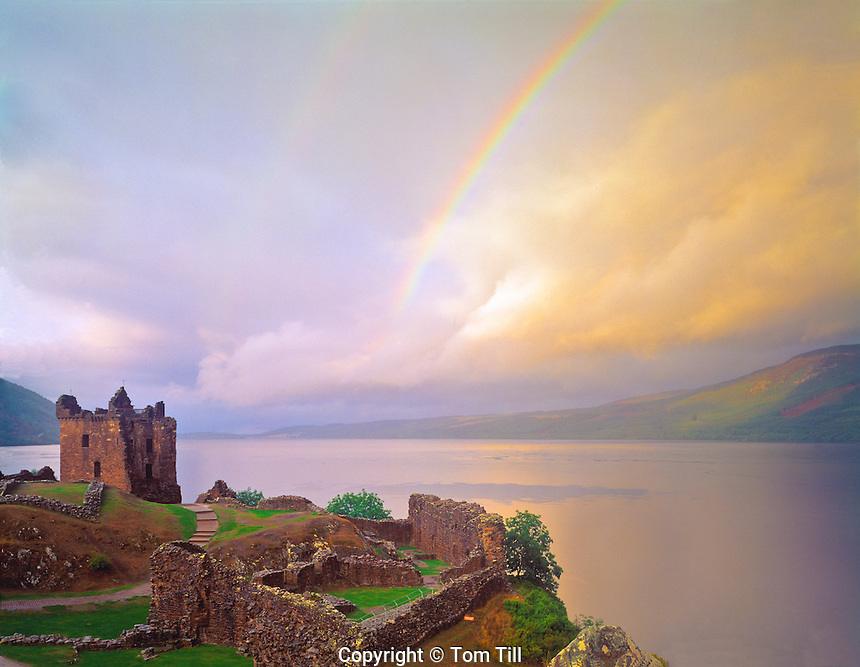 Rainbow over Urquhart Castle  Urquhart Castle Historical Park, Scotland, United Kingdom Loch Ness  in the Great Glen  Built in the 13th Century September