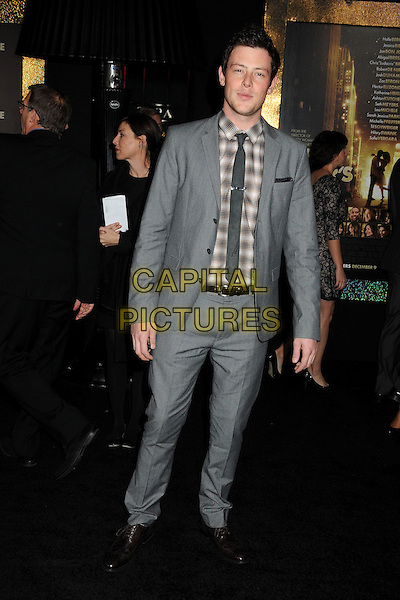 "Cory Monteith.The World Premiere of ""New Year's Eve' held at The Grauman's Chinese Theatre in Hollywood, California, USA..December 5th, 2011.full length brown check shirt grey gray tie suit.CAP/ADM/BP.©Byron Purvis/AdMedia/Capital Pictures."