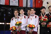 "SHORT TRACK: MOSCOW: Speed Skating Centre ""Krylatskoe"", 15-03-2015, ISU World Short Track Speed Skating Championships 2015, Podium Relay Men, HUNGARY, ©photo Martin de Jong"
