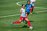 Kansas City, MO - Saturday September 9, 2017: Samantha Johnson, Sydney Leroux Dwyer during a regular season National Women's Soccer League (NWSL) match between FC Kansas City and the Chicago Red Stars at Children's Mercy Victory Field.