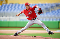 Washington Nationals starting pitcher Mason Denaburg (51) delivers his first pitch during a Florida Instructional League game against the Miami Marlins on September 26, 2018 at Marlins Park in Miami, Florida.  (Mike Janes/Four Seam Images)
