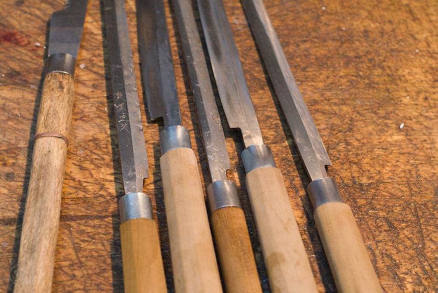 Specialty knives for cutting fish at the fish markets at Tsukiji, Tokyo.