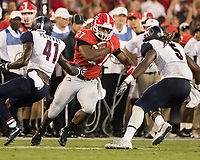 Athens, GA - September 16, 2017: The thirteenth ranked University of Georgia Bulldogs host the Samford Bulldogs at Sanford Stadium.  Final score University of Georgia 42, Samford 14.