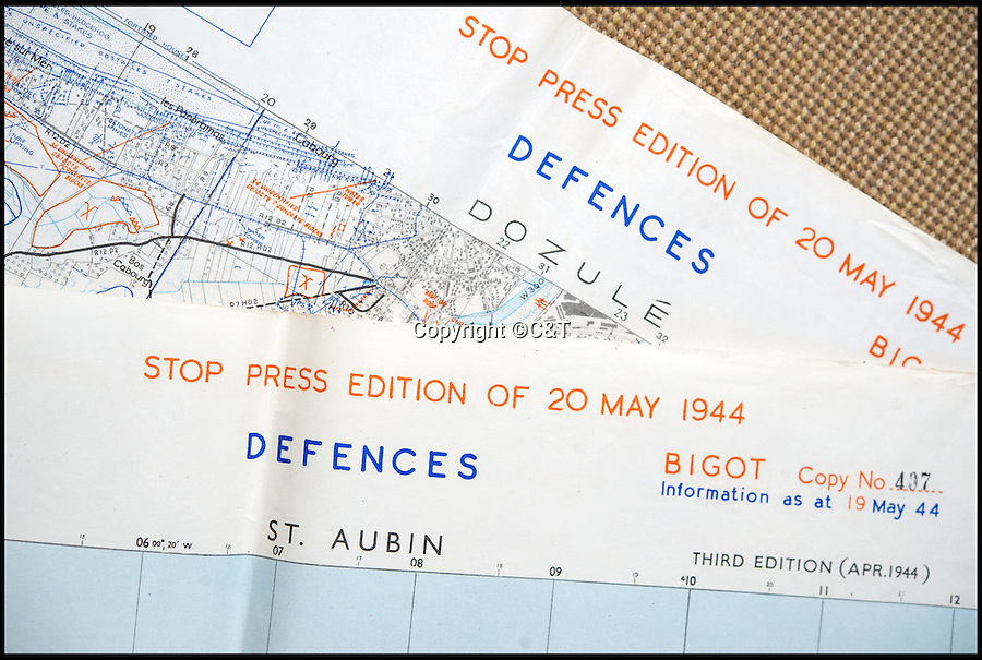 BNPS.co.uk (01202 558833)<br /> Pic: C&amp;T/BNPS<br /> <br /> The maps were distributed on the 20th May.<br /> <br /> The most up-to-date maps for the D-Day invasion have come to light 72 years later to show the incredible detail the Allies went to to ensure victory.<br /> <br /> The 24 original maps were drawn up just two weeks before the momentous operation and gave the military commanders the most contemporary reports of the state of the five Normandy beaches.<br /> <br /> The charts, marked 'Top Secret', were so detailed they contained almost the exact number and positions of mines, pill boxes and other defence works the Germans had laid as part of Hitler's Atlantic Wall.<br /> <br /> They are being sold in eight separate lots by C&amp;T Auctioneers of Ashford, Kent, on September 7.