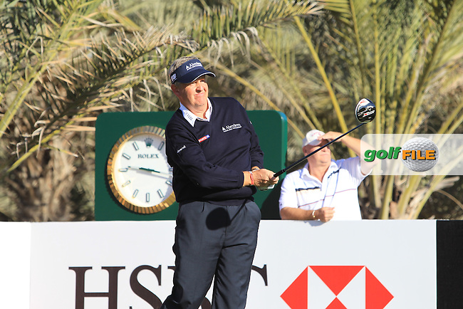 Colin Montgomerie (SCO) tees off the 14th tee during Friday's Round 2 of the Abu Dhabi HSBC Golf Championship at Abu Dhabi Golf Club, 18th January 2013 (Photo Eoin Clarke/www.golffile.ie)
