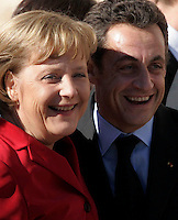 Angela Merkel, Germany's chancellor and  Nicolas Sarkozy, France's president, after sign the 'Treaty of Lisbon' in Jeronimo monastery in Lisbon 13 December.