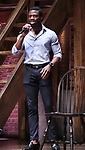 """Michael Luwoye from the 'Hamilton' cast during a Q & A before The Rockefeller Foundation and The Gilder Lehrman Institute of American History sponsored High School student #EduHam matinee performance of """"Hamilton"""" at the Richard Rodgers Theatre on June 6, 2018 in New York City."""
