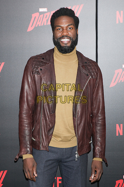 NEW YORK, NY - MARCH 10: Yahya Abdul-Mateen II  at the 'Daredevil' season 2 premiere at AMC Loews Lincoln Square 13 theater on March 10, 2016 in New York City. <br /> CAP/MPI99<br /> &copy;MPI99/Capital Pictures