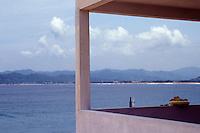 View of the Pacific Ocean from a hotel balcony in Barra de Navidad, Mexico