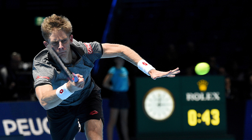 Kevin Anderson (RSA) in action against Kei Nishikori (JPN) in their Group Lleyton Hewitt match<br /> <br /> Photographer Hannah Fountainl/CameraSport<br /> <br /> International Tennis - Nitto ATP World Tour Finals Day 3 - O2 Arena - London - Tuesday 13th November 2018<br /> <br /> World Copyright © 2018 CameraSport. All rights reserved. 43 Linden Ave. Countesthorpe. Leicester. England. LE8 5PG - Tel: +44 (0) 116 277 4147 - admin@camerasport.com - www.camerasport.com