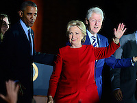 Philadelphia, PA - November 7, 2016: Democratic presidential candidate Hillary Clinton waves to supporters during a campaign rally at Independence Hall in Philadelphia, PA, November 7, 2016, as President Barack Obama and former President Bill Clinton look on.  (Photo by Don Baxter/Media Images International)