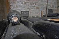 Bottles aging in the cellar. Jeroboams. Domaine Bertagna, Vougeot, Cote de Nuits, d'Or, Burgundy, France