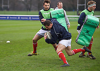 London Scottish players warm up ahead of their fixture with Ealing Trailfinders in the Greene King IPA Championship match between London Scottish Football Club and Ealing Trailfinders at Richmond Athletic Ground, Richmond, United Kingdom on 26 December 2015. Photo by Alan  Stanford / PRiME Media Images