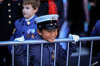 A child disguised as military member watches the annual Veterans Day parade in New York.  10.11.2014. Eduardo Munoz Alvarez/VIEWpress
