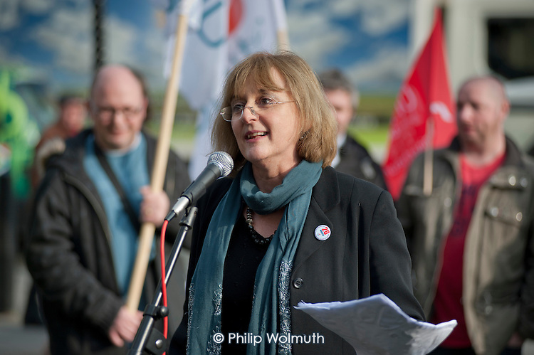 Diana Holland, Unite Assistant General Secretary, addresses a joint union lobby of Parliament over the Public Bodies Bill, Westminster, London.
