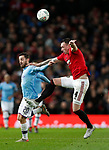 Phil Jones of Manchester United clatters into Bernardo Silva of Manchester City ring the Carabao Cup match at Old Trafford, Manchester. Picture date: 7th January 2020. Picture credit should read: Darren Staples/Sportimage