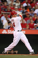 Mark Trumbo  #44 of the Los Angeles Angels bats against the San Francisco Giants at Angel Stadium on June 18, 2012 in Anaheim, California. San Francisco defeated Los Angeles 5-3. (Larry Goren/Four Seam Images)