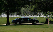 United States President Barack Obama arrives at Arlington National Cemetery, May 25, 2015 in Arlington, Virginia. <br /> Credit: Olivier Douliery / Pool via CNP