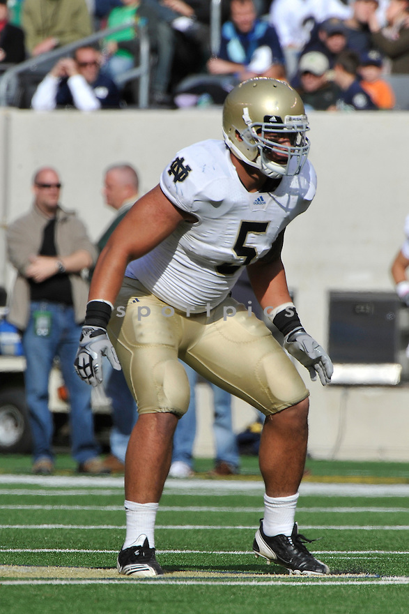 Oct 23, 2010; Notre Dame LB Te'o Manti (5) during  game against Navy.Navy won 35-17 at  The New Meadowlands Stadium East Rutherford, NJ. Mandatory Credit: Tomasso DeRosa