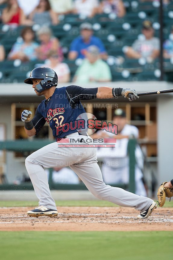 Jose Rosario (32) of the Scranton/Wilkes-Barre RailRiders follows through on his swing against the Charlotte Knights at BB&T BallPark on July 20, 2016 in Charlotte, North Carolina.  The RailRiders defeated the Knights 14-2.  (Brian Westerholt/Four Seam Images)